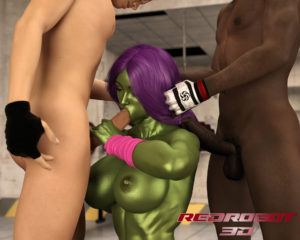 She Rages gets down and dirty with two hunky agents in the gym!